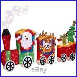 6 Ft. Pre-lit Tinsel Santa with Train Set Christmas Yard Holiday Decor Lights