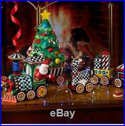 Authentic MacKenzie-Childs Christmas Train 5 Piece Ceramic Set NIB