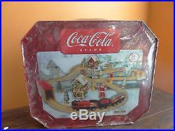 Coca Cola Coke Christmas Wooden Train Track Car Set Maxim 36413 Tin Case Brio