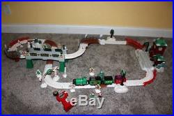 GeoTrax Christmas in Toy Town Train Track Set Lot Fisher Price Lights Music RARE