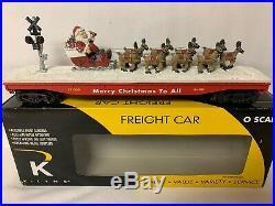 K-line Santa & Reindeer Christmas Flat Car Lighted! Train Set