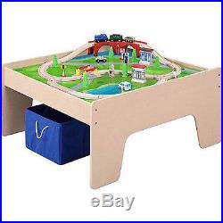 Kids Train Set Activity Table Wooden Playset Thomas 45-Piece 2in1 Christmas Gift