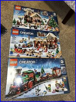Lego Sealed Christmas Holiday Lot 10245 Santa 10249 Winter Toy Shop 10254 Train