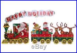 Light-Up Holographic Santa Train, 3-Piece Set Outdoor Christmas Decor