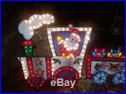 Merry Christmas Outdoor Lighted Animated Motion Lights Santa Train Set Sign 9.8