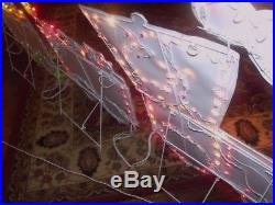 MERRY CHRISTMAS OUTDOOR LIGHTED ANIMATED MOTION LIGHTS SANTA TRAIN SET SIGN 9.8/'