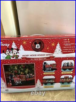 New Disney Mickey Mouse Holiday Express 36 Piece Collectors Edition Train Set