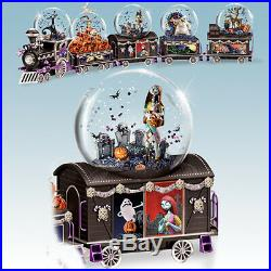 The Nightmare Before Christmas Musical Glitter Globe Train set of five train car