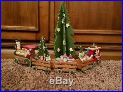 Vintage Christmas Emgee Hawaii Wooden 5 Piece Train Set & Large Tree With Stars