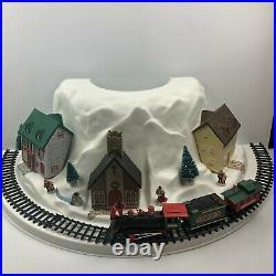 Vintage EZ Christmas Mountain Tree Stand Skirt Train Village & Buildings Set
