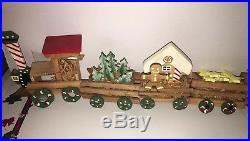 Vintage Emgee Hawaii Train Set Wooden Christmas 9 Pc Santa Ornaments